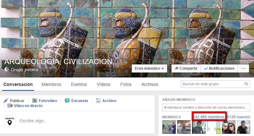 Arqueología, Civilizaciones Antiguas y Misterios de la Tierra el grupo de Facebook de Xio León con más 240.000 miembros suscritos (enero 2017)