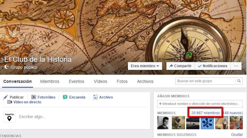 5.- Un grupo de Facebook Voy a destacar dos grupos de Facebook: 'El Club de la Historia' y 'Arqueología, Civilizaciones Antiguas y Misterios de la Tierra'.