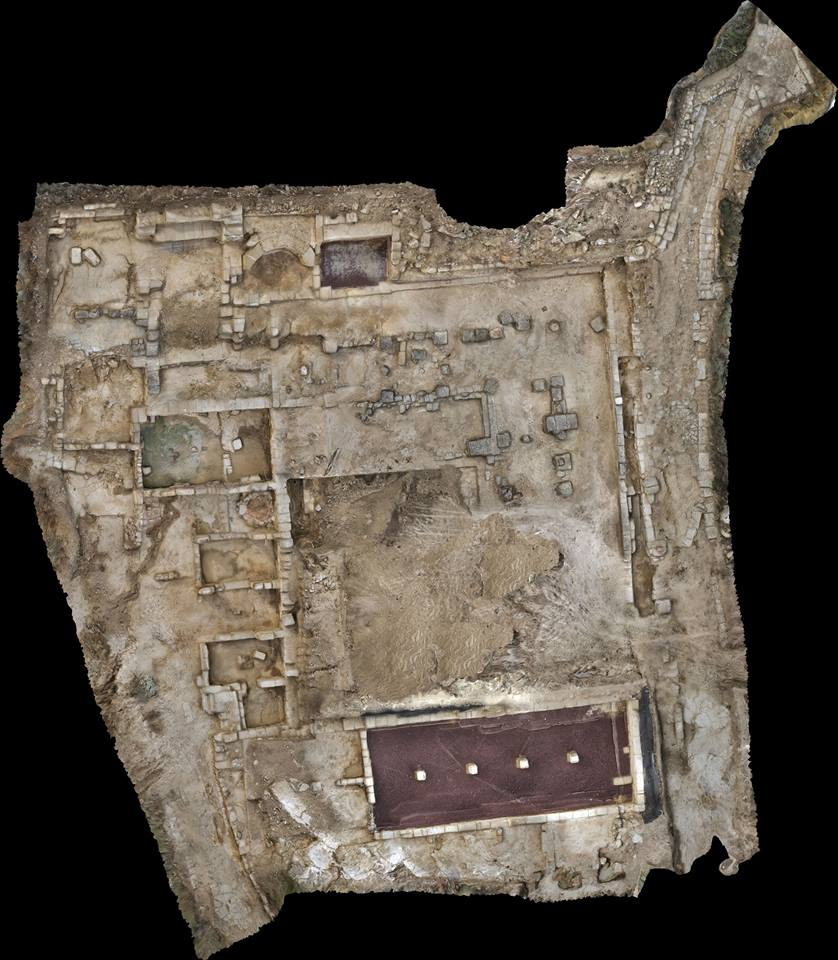 Visión cenital, de Arqueocad S. L., sin postproceso, del foro de la ciudad romana