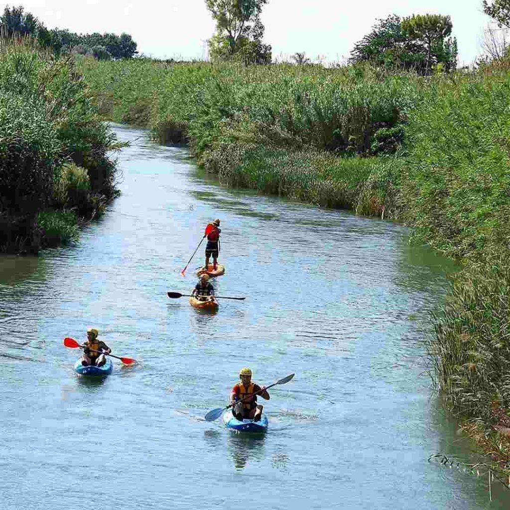 Kayak en el río Turia