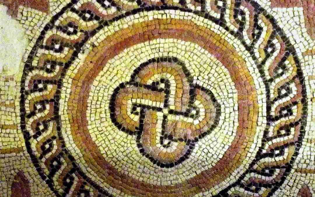 Detalle de un mosaico romano de Aguilafuente